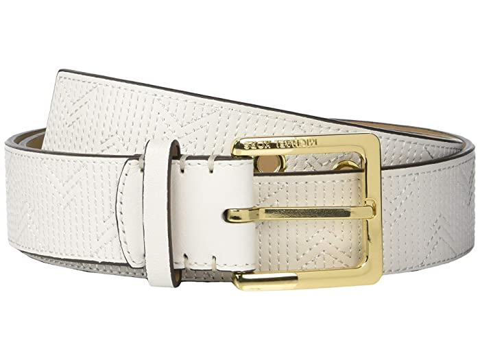 MICHAEL Michael Kors 38 mm (1.5) Deco M Quilt Belt (Optic White) Women