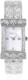 White Crystal Japanese Movement Water Resistant Cuff Bangle Bracelet Watch in Silvertone with Stainless Steel Back Ct 0.3
