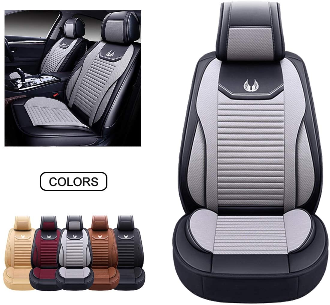 OASIS AUTO Leather&Fabric Car Seat Covers, Faux Leatherette Automotive Vehicle Cushion Cover for Cars SUV Pick-up Truck Universal Fit Set Auto Interior Accessories (OS-008 Front Pair, Gray)