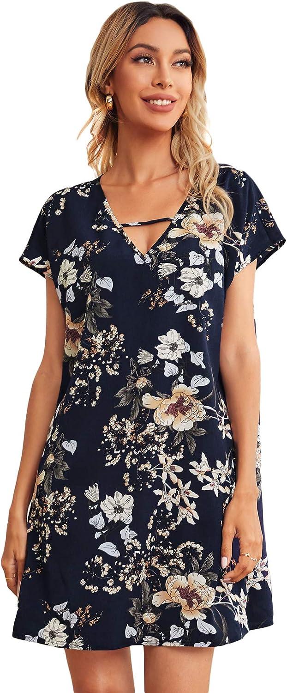 Milumia Women's Floral Print Cutout V Neck Short Sleeve Straight Short Tunic Dress