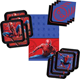 Spiderman Party Pack Tableware Supplies for 16 Guests - Includes 16 Dinner Plates, 16 Dessert Plates, 16 Dinner Napkins, and 1 Tablecover, Bundle