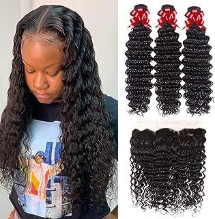 9A Deep Wave 3 Bundles with Free Part Frontal (20 22 24+18) Brazilian Virgin Human Hair Bundles Deep Wave Frontal 100% Unprocessed Human Hair Extensions Natural Color