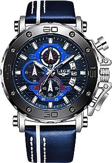 LIGE Hommes Montres Noir Mode Classique Quartz Horloge en Acier Inoxydable Étanche De Montre Hommes Sport Chronographe Ros...
