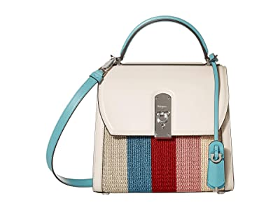 Salvatore Ferragamo Boxyz Knit Top-Handle Bag (Bone/Turquoise) Handbags