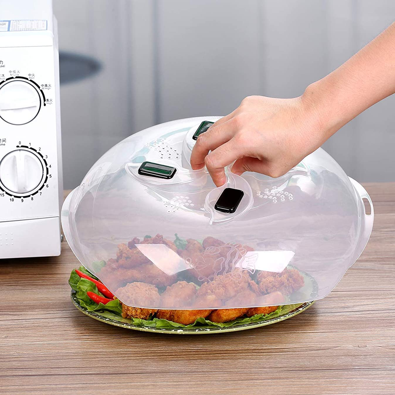 Microwave Plate Cover - Magnetic Hover Function | Microwave Lid Food Cover | Magnetic Microwave Splatter Lid with Steam Vents | 11.8 Inch & BPA-Free (Black)