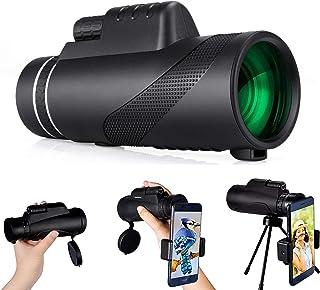 Monoculaire telescoop, 80 x 100 High Power HD monoculaire HD monoculair met smartphonehouder en statief, waterdicht, monoc...