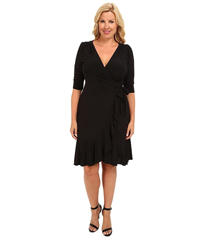 Kiyonna Whimsy Wrap Dress (Black Noir) Women's Dress