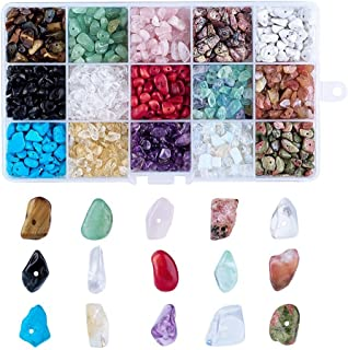 PH PandaHall Women's 1 Box Chip Gemstone Beads Crushed Pieces Stone Irregular Shaped Beads With Tibetan Style Alloy Spacer...