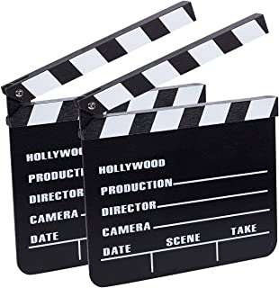 Clapper Board - 2-Pack Movie Clapboards, Hollywood Director Film Slate for Movie Scene Production Decoration Prop, Black, ...