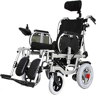 KILLM Silla Ruedas EléCtrica Ajustable De 180 ° Acostarse Ancianos, VehíCulo EléCtrico Cuatro Ruedas Discapacitados, Silla Ruedas Plegable PortáTil Ancianos