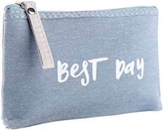 LANGMAN Letters Makeup Bags Cosmetic Pouch Travel Zipper Cosmetic Organizer Toiletry Bag Printing Pencil Bag (Blue)