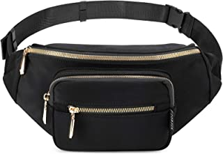 ZORFIN Fanny Packs for Women Men Fashion waterproof Waist Bag for Disney Travel Running Walking Hiking (Black)