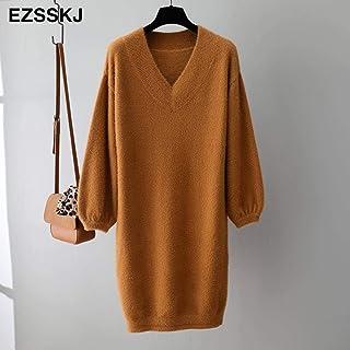 Small Dress Female Chic Straight Dress Autumn And Winter V-neck Short Lantern Sleeve Thick Sweater Skirt Fur Dress Female ...