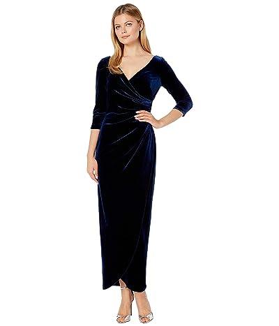 Alex Evenings Long Velvet Dress with Tulip Overlay Hem (Imperial) Women