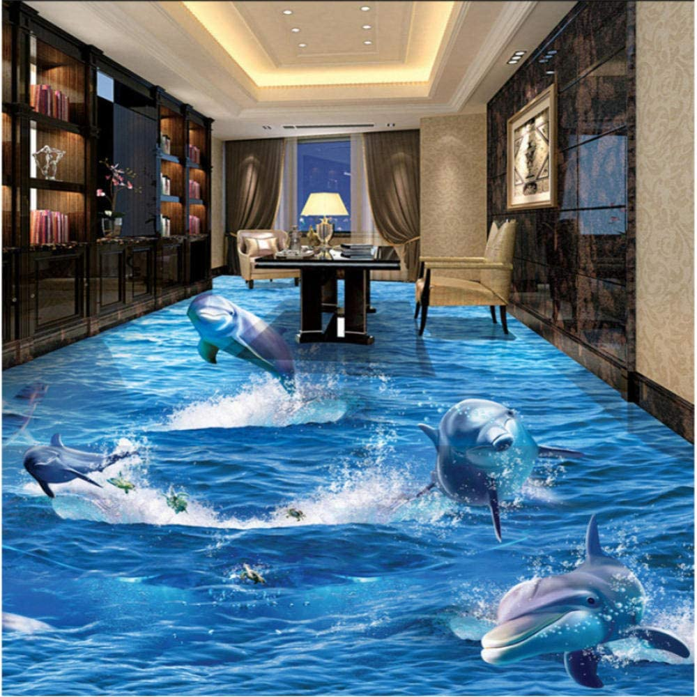 Outlet sale feature Clhhsy Custom Floor Large discharge sale Painting 3D Rushed Out Wallpaper Dolphin of