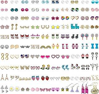 NEWITIN 100 جفت گوشواره گلدوزی رنگارنگ گوشواره های ضد حساسیت گوشواره های استیل ضد زنگ دخترانه و زنانه