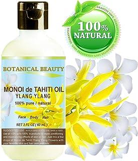 Botanical Beauty MONOI TIARE TAHITI OIL YLANG YLANG 100% Pure 2 Fl.oz - 60 ml. For Skin, Face, Hair and Nail Care.
