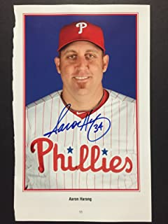 Autographed/Signed Aaron Harang Philadelphia Phillies 5x9 Player Photo Guaranteed to pass PSA/JSA