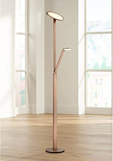 Magnum French Torchiere Floor Lamp with Reader Arm Adjustable LED French Bronze for Living Room Reading Bedroom - Possini Euro Design