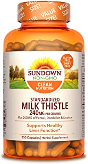 Milk Thistle by Sundown, Herbal Supplement, Supports Liver Health, Non-GMO, Free of Gluten, Dairy, Artificial Flavors, 80%...