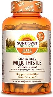 Sundown Standardized Milk Thistle, 250 capsules