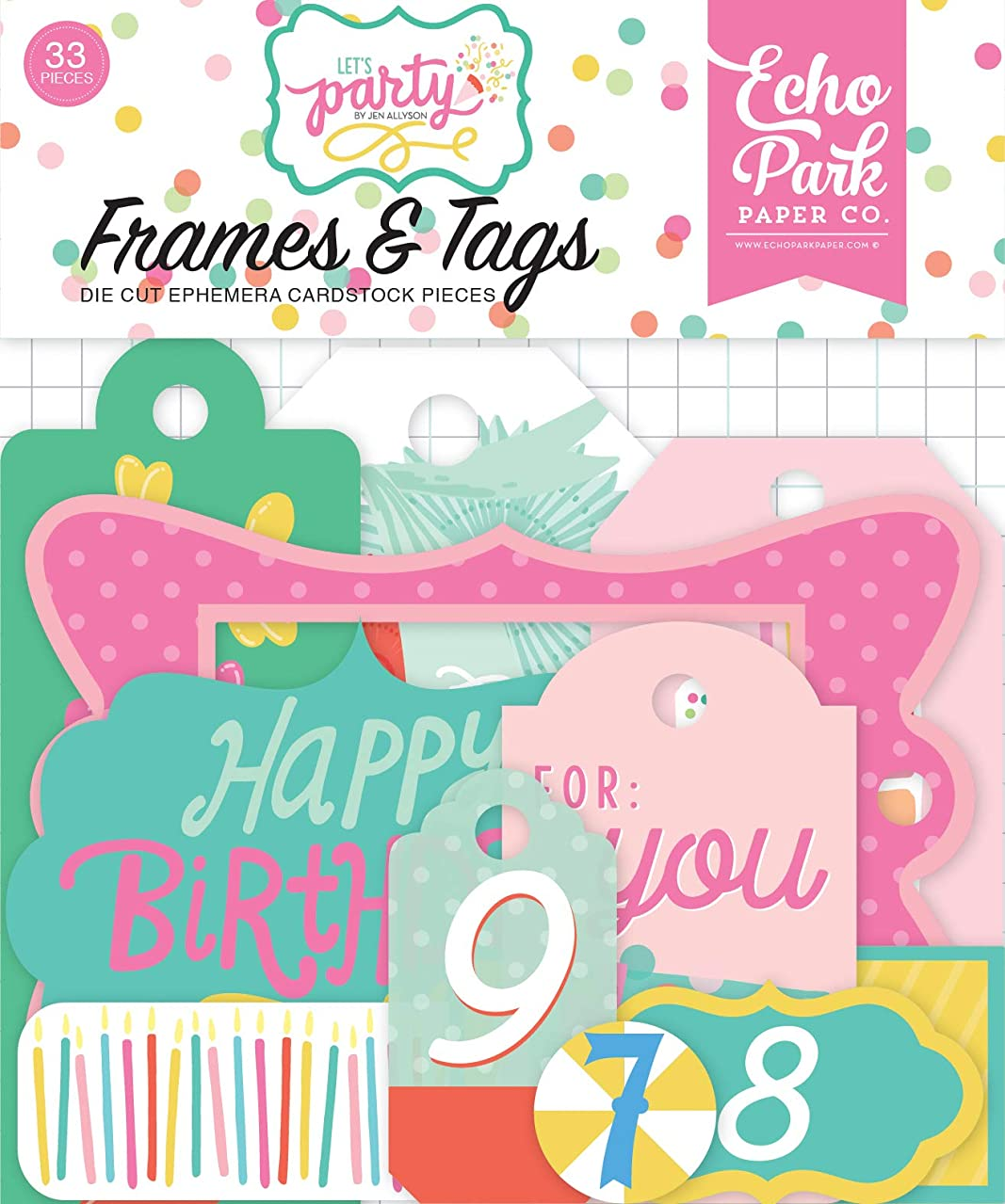 Echo Park Paper Company LP170025 Let's Party Frames & Tags Ephemera Teal, Pink, Green, Yellow