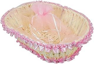 JoyGlobal Christmas Decorative Chocolate Holder Handmade Christmas Gift Oval Basket with Net Cover -(Basket Size : 22 x 17...