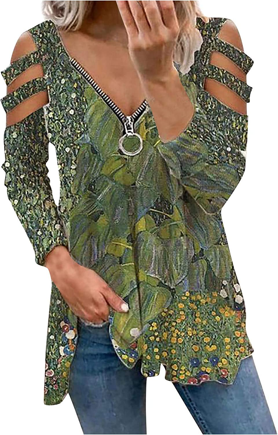 Women's Cut Out Off Shoulder Blouses V Neck Zipper Stylish Tees Creative Colorful Print Shirts Long Sleeve Tops Army Green