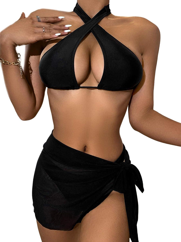 SheIn Women's Criss Cross Halter Bikini Set 3 Pieces Swimsuit with Mesh Cover Up Skirt