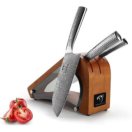 NANFANG BROTHERS Ensemble de 4 Couteaux de Cuisine Damas avec Bloc en Bois - Longueurs de Lame de 10,00 cm à 20,00 cm VG-10, Couteau de Chef Japonais Damas Tranchant de avec Manches Martelés