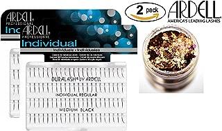 Ardell DURALASH INDIVIDUAL REGULAR, Medium Black, Contains 56 Individual Lashes (2-PACK with bonus Skin/Hair GLITTER) (Medium Black #65062 (2-PACK))