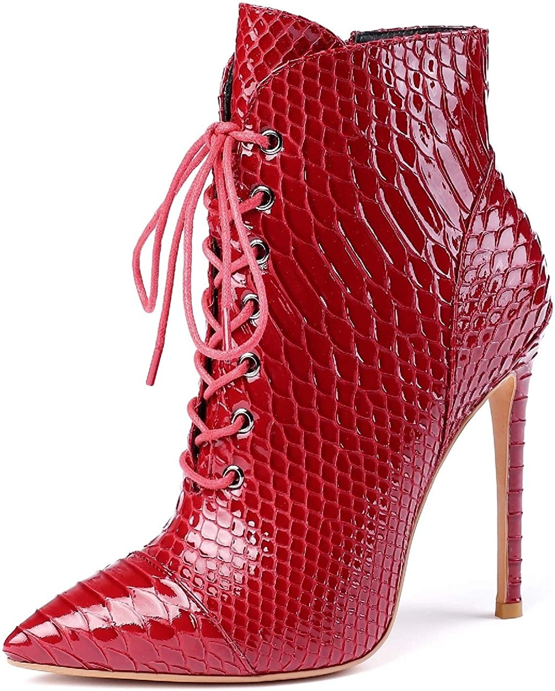 Max 71% OFF Sammitop Women's Free shipping New Pointed Toe Lace Up Ankle Print Animal Sh Boots