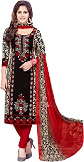 Ishin Women's Dress Material (Darvr2158R_Black & Red_One Size)
