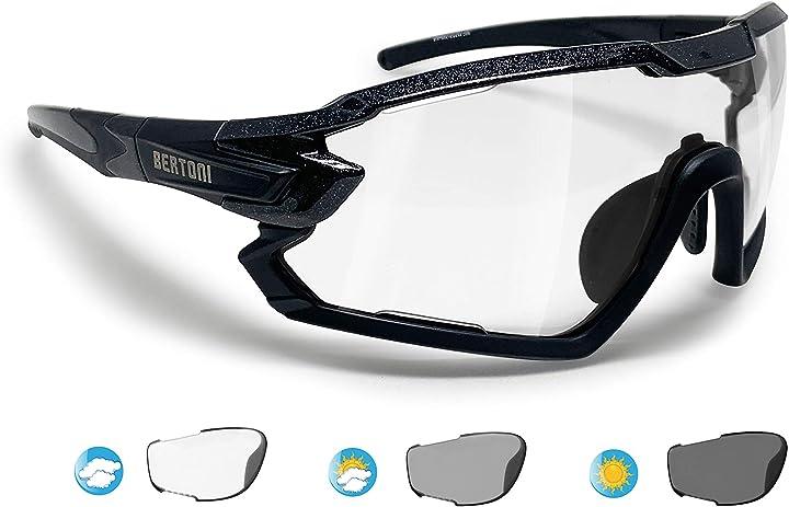 Occhiali ciclismo running mtb sci paddel tennis sport polarizzati fotocromatici mod. quasar bertoni B0813VWMBC