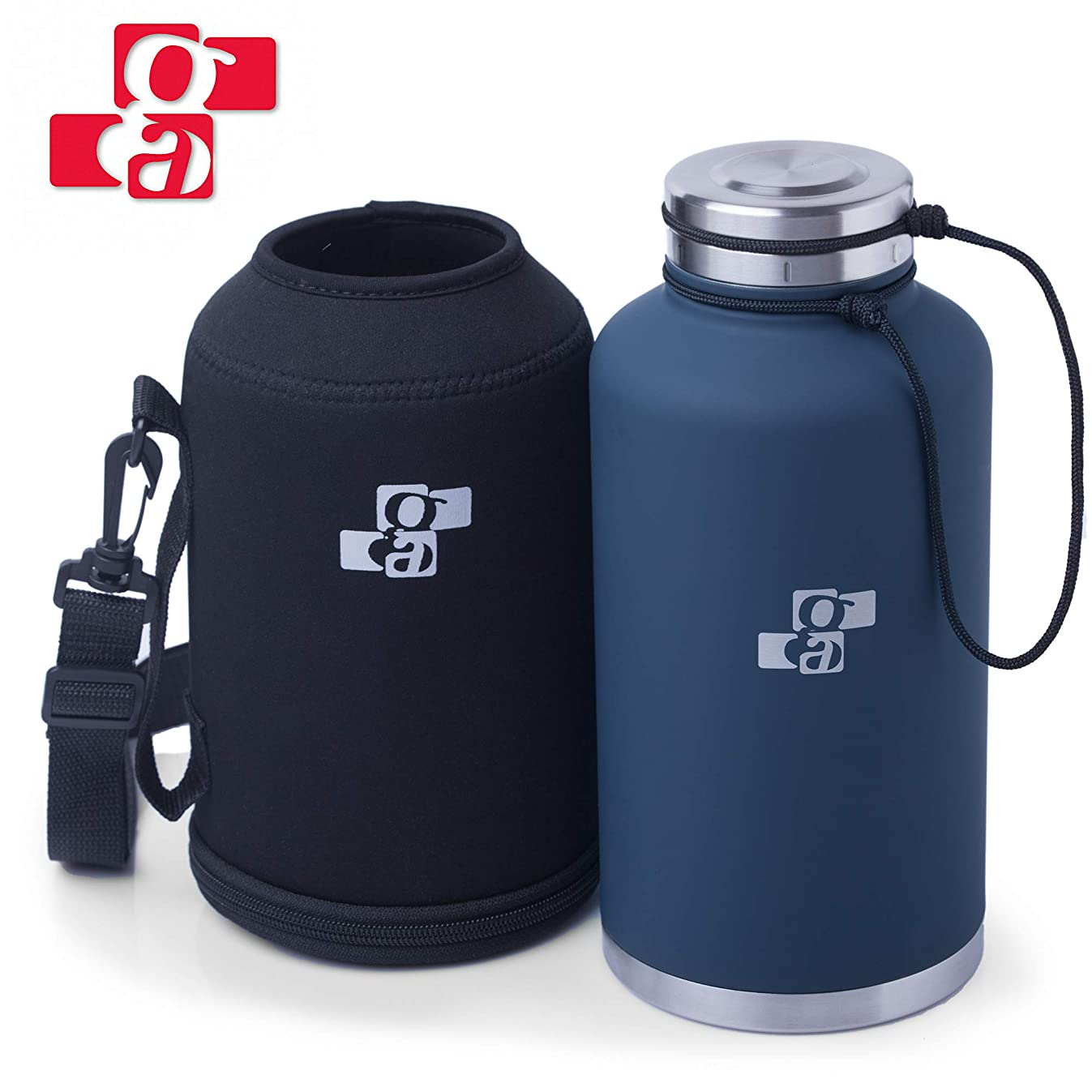 Beer Growler 64 oz with New Lid - Thermos Water Bottle - Insulated Stainless Steel Vacuum Water Jug Dark Blue for Hot and Cold Beverages - Black Neoprene Growler Carrier