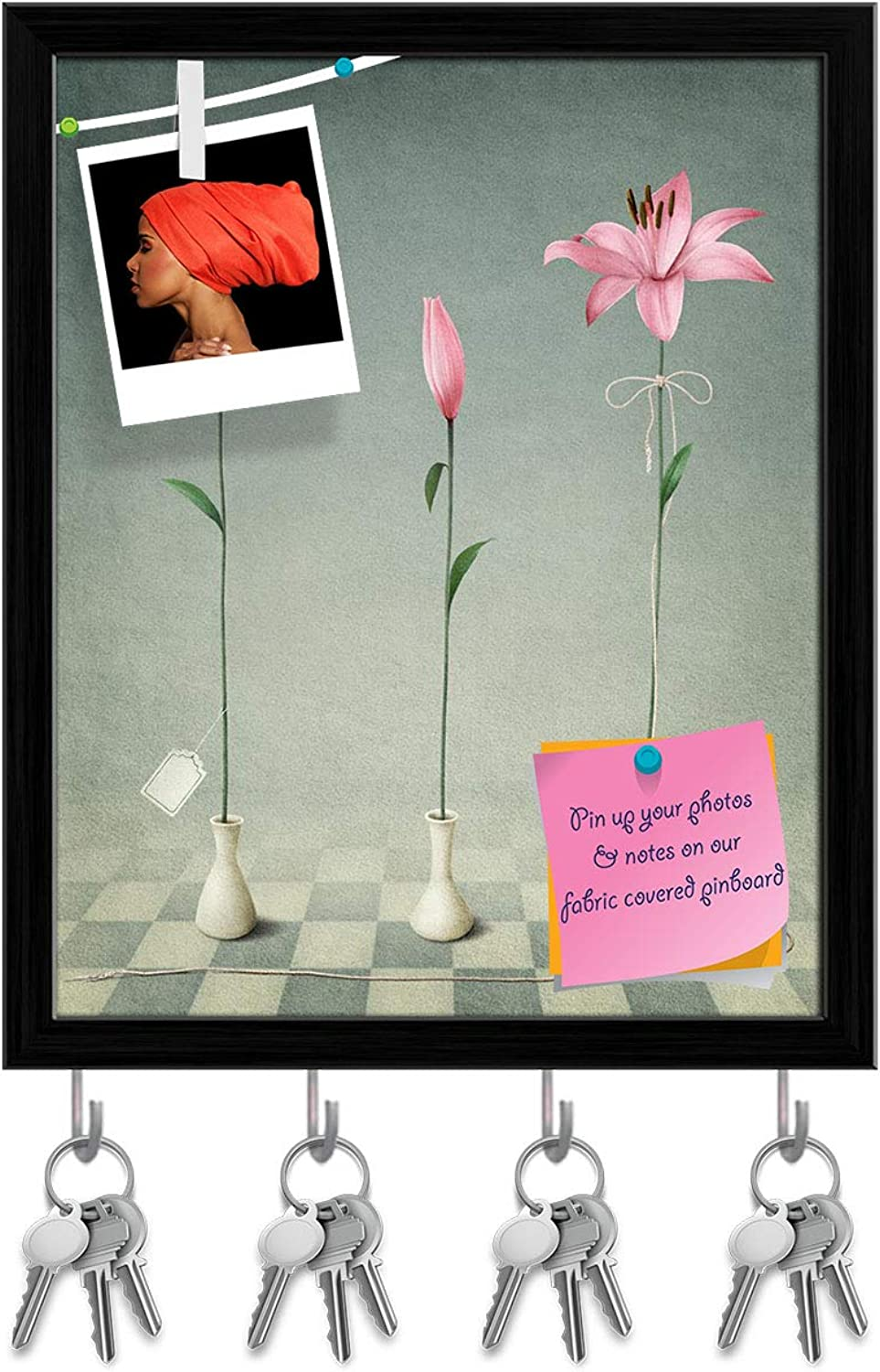 Artzfolio Pink Lilies D2 Key Holder Hooks   Notice Pin Board   Black Frame 16 X 19.8Inch