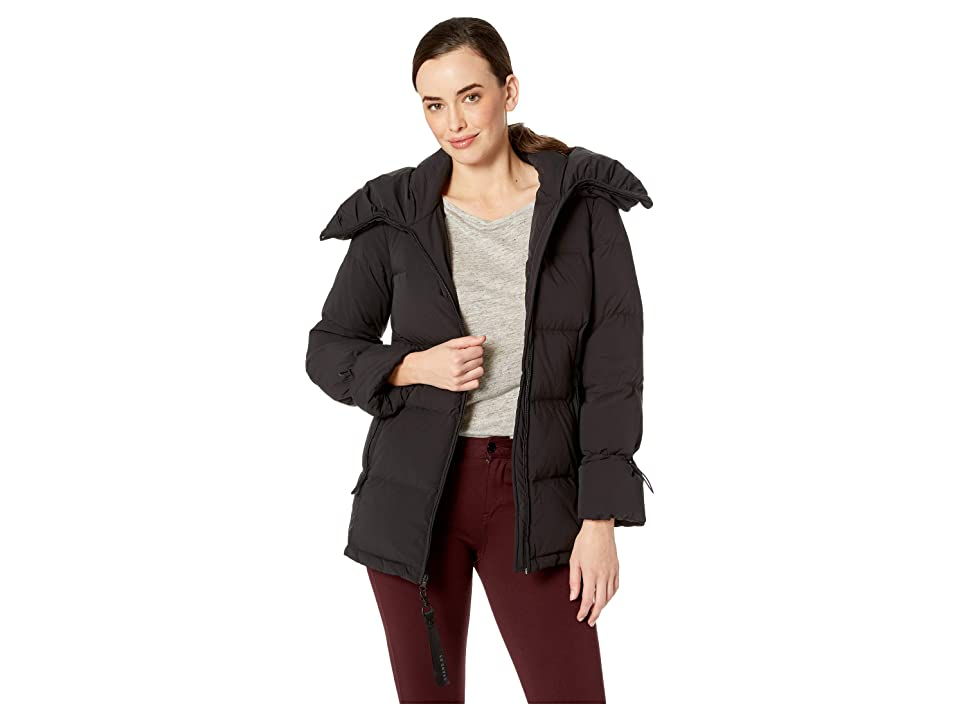 Cole Haan Soft Touch Stretch Down Channel Quilt Coat with Oversized Hood (Black) Women