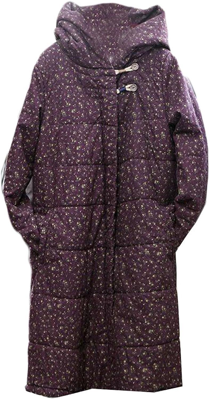 HTOOHTOOH Women Warm Winter Coat CottonPadded Quilted Hoodie Down Jacket Coat