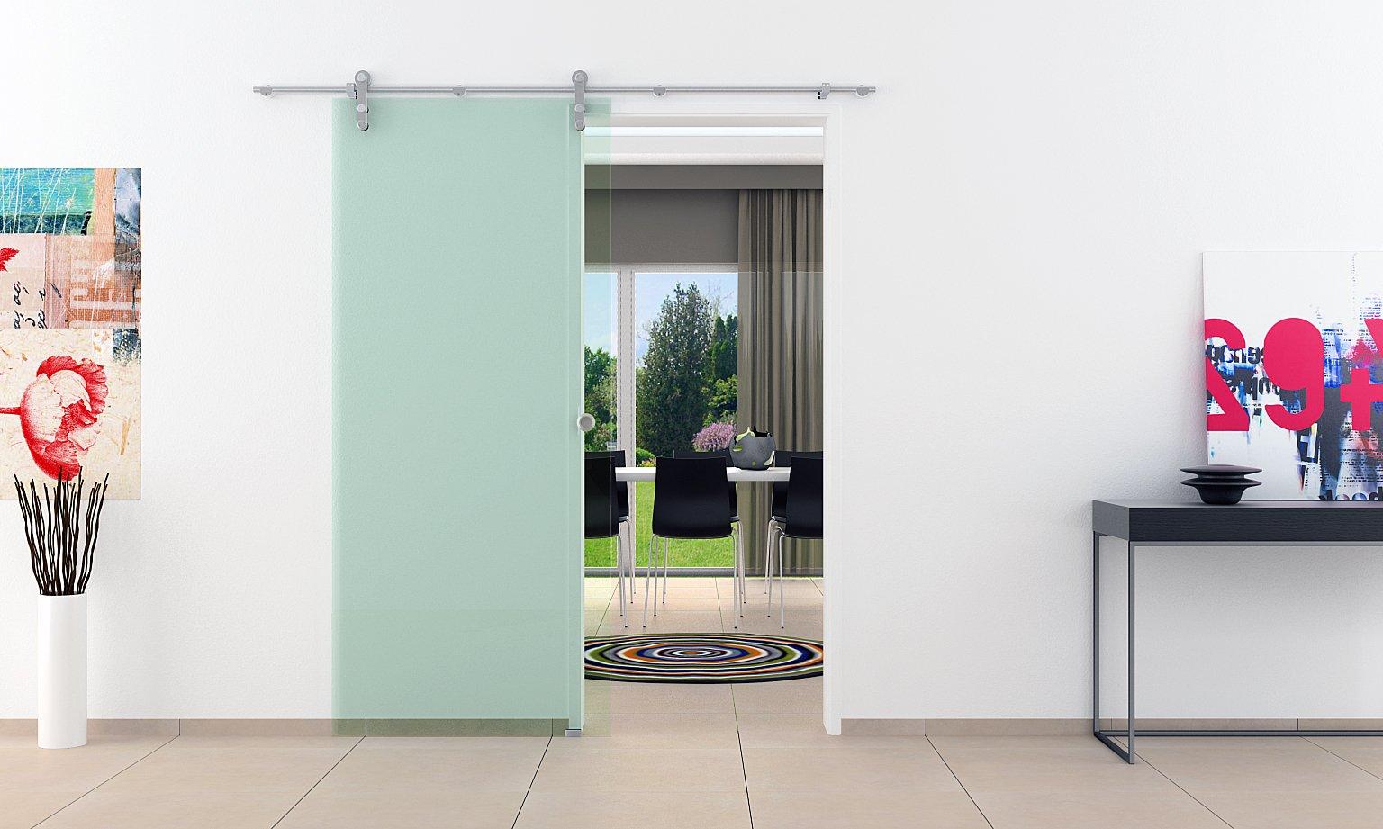 Correderas de cristal de las puertas de interiores 775 mm x 2050 mm abierta de ruedas de acero inoxidable & concha de mango por el fabricante LEVIDOR de muy alta calidad silenciosas