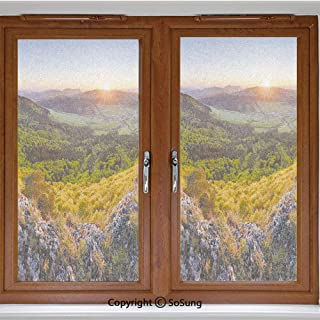 24x42 inch Window Privacy Film,Balkans Slovakian Mountain Valley at Sunset Sky Surreal Landscape Non-Adhesive Static Cling Frosted Window Film,Window Stickers for Kids Home Office