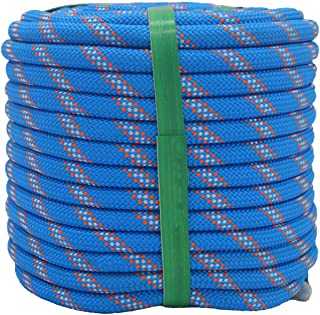 "YUZENET Braided Polyester Arborist Rigging Rope (3/8"" X 50') Strong Pulling Rope for Climbing Sailing Camping Swings, Blue..."