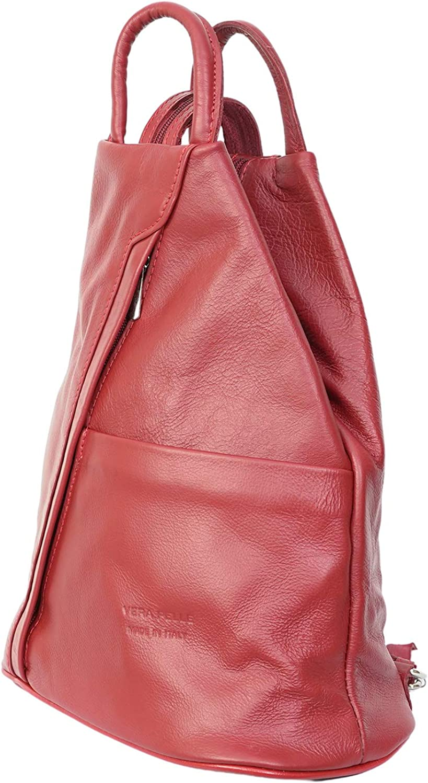 Vera Pelle Sac à dos en cuir italien véritable souple Rouge