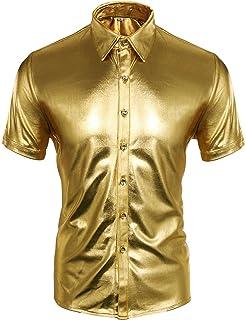 CUSFULL Men's Metallic Silver Gold Shirt Nightclub Style Short Sleeves Button Down Shirts Shiny Slim Fit Disco Dance Tops ...