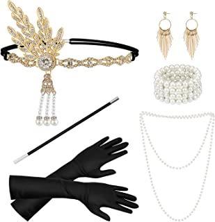 Dreamtop 1920s Flapper Costume Accessories Great Gatsby Accessories Set Flapper Elbow Gloves Headband Pearl Necklaces Bracelet Earrings cigarette Holder for Women Prom Parties
