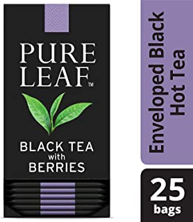 Pure Leaf Black with Berries Enveloped Hot Tea Bags Single Origin: Kenya, Made with Tea Leaves Sourced from Rainforest Alliance Certified Farms, 25 count, Pack of 6