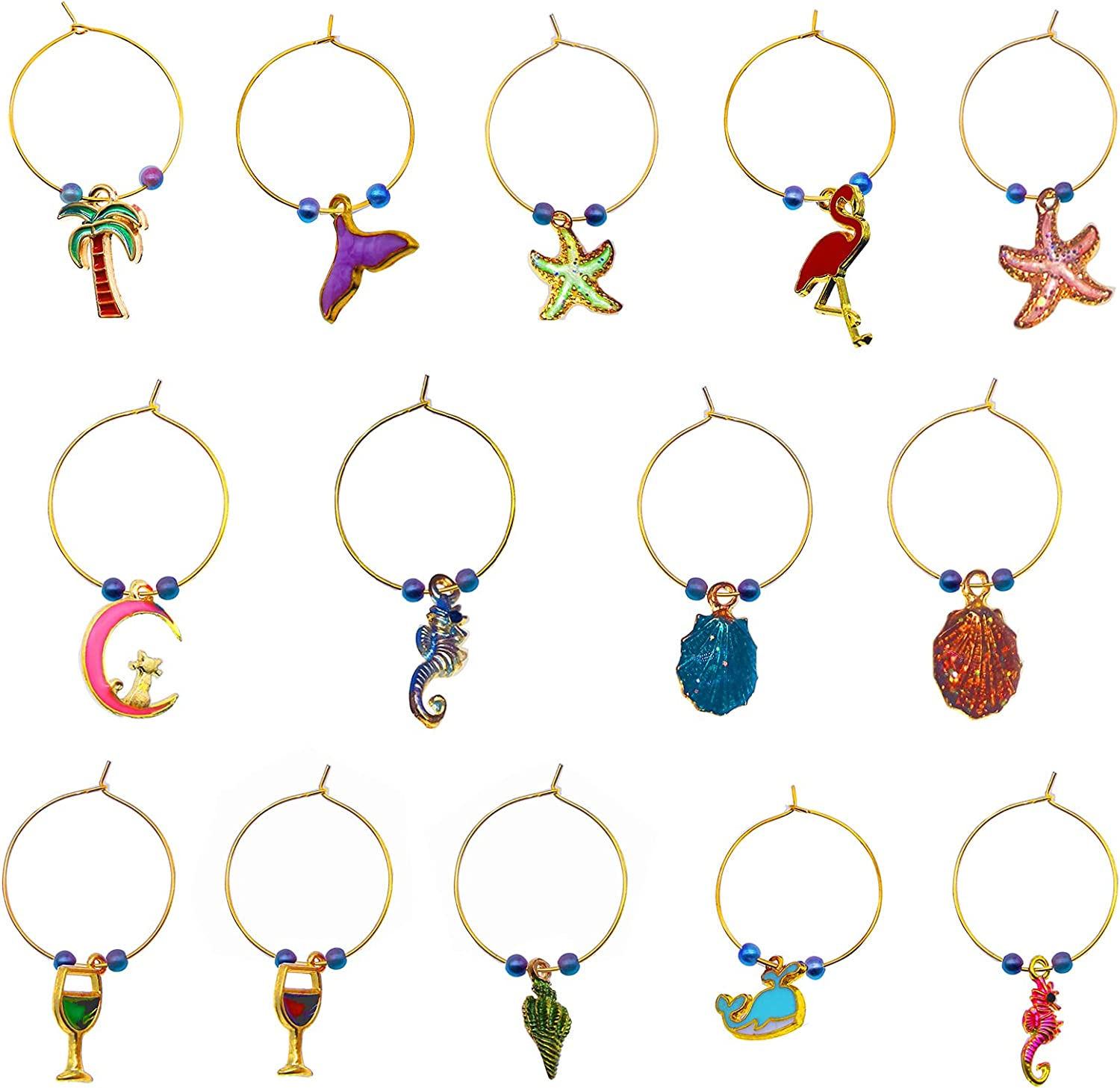 Ranking TOP10 Factory outlet Outingfun Wine Markers Charms,Stem Charms Glass