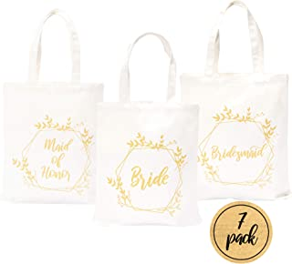 Pop Fizz Designs Bridesmaid Bags | 5 Bridesmaid Tote Bags | 1 Maid of Honor Tote Bag | 1 Bride Canvas Bag (7 Pack)