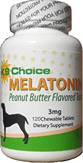 K9 Choice Melatonin for Dogs 3 mg Chewable Peanut Butter Flavor 120 Tabs