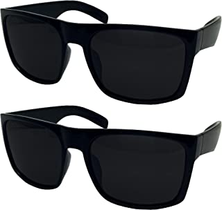 2 Pack XL Polarized Men's Big Wide Frame Sunglasses - Large Head Fit
