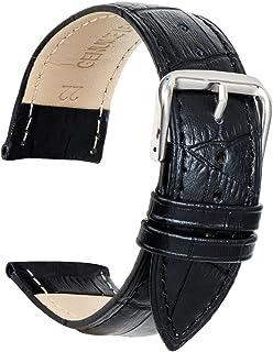 Ullchro Watch Strap Genuine Leather Stitched Edging Bamboo Grain - 12, 14, 16, 18, 19, 20, 21, 22, 24 mm